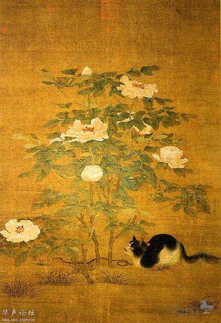 Calico Cat and Noble Peonies | scroll painting, 12th century | unknown artist ----------------------------------------------- National Palace Museum, Taipei