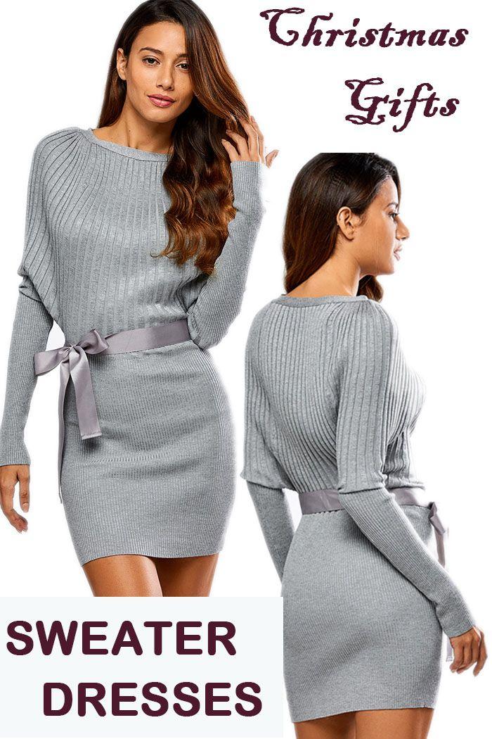 Batwing Knit Dress With Bowknot Sash