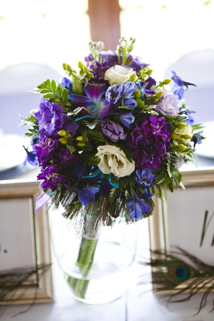 my dream bouquet-- blue dendrobium orchid, purple/white ...