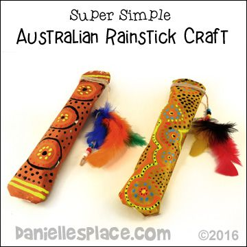 Australian Rainstick Craft for children from www.daniellesplace.com - Super Simple - uses only two sheets of paper, and newpaper.