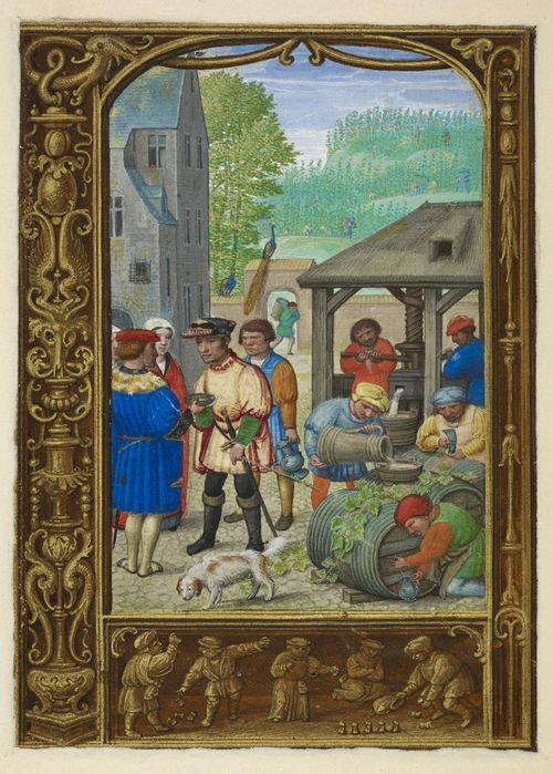 From the Medieval Manuscripts blog post 'A Calendar Page for October 2013.' Image: Calendar page for October with a miniature of wine-making, from the Golf Book (Book of Hours, Use of Rome), workshop of Simon Bening, Netherlands (Bruges), c. 1540.