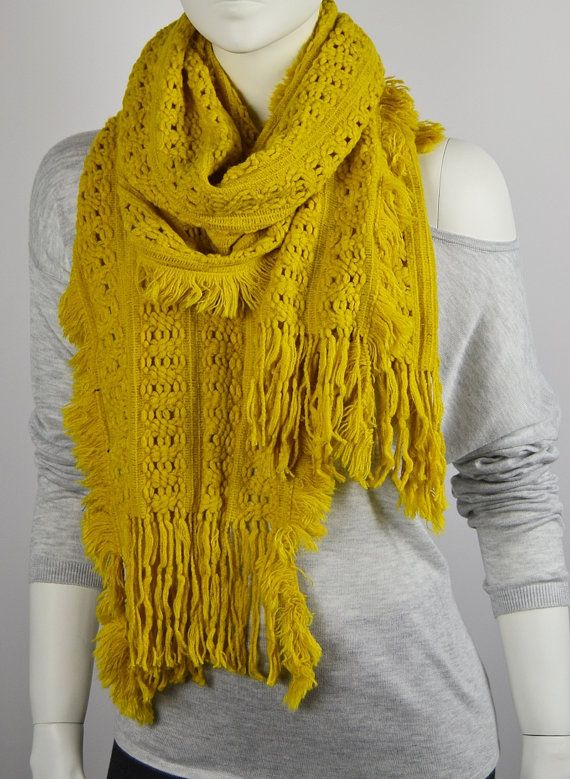 BUY 1 & GET 1 FREE  Yellow Scarf Knitted Scarf  by LIFEPARTNER, $17.40