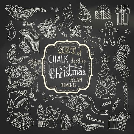chalk: Vector set of chalk Christmas design elements. Christmas tree and baubles, Santa sock, hat and beard, gifts, candy canes, snowman, swirls, gingerbread man, deer, bells and ribbons, stars, cup, candle, holly berries on blackboard background.