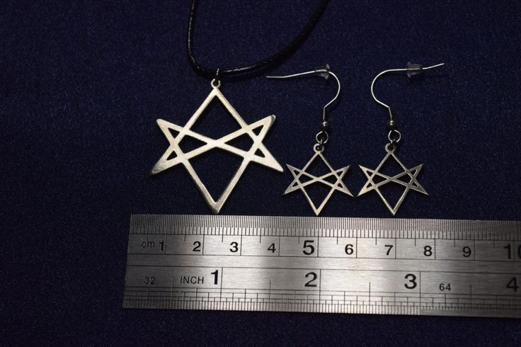 SET Unicursal Hexagram earrings Necklace Thelema Pendant Occult Thelemic gothic, lucifer, satan, devil demonic, Baphomet,unholy. by PrinceSymbol on Etsy
