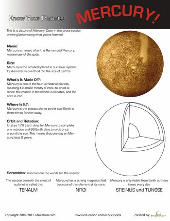 Worksheets: Know Your Planets: Mercury