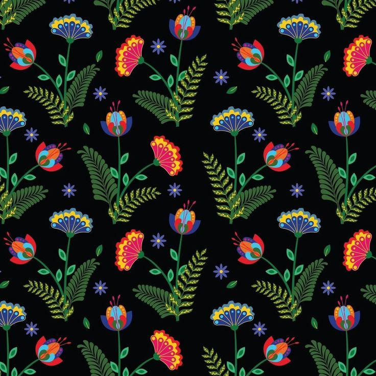 pattern, folk, design, wrapping paper, floral, by Eva Lechner