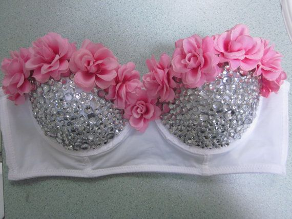 Pink Rose Disco Rave Bra 34C on Etsy, $56.01