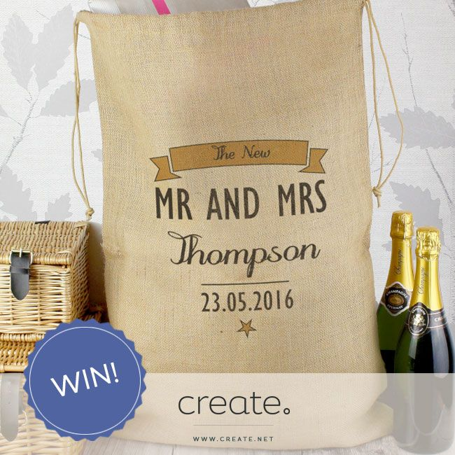 """#WIN this beautiful """"Mr and Mrs"""" personalised hessian sack from the wonderful online store Amor Designs! Enter on the Create Facebook page facebook.com/create"""