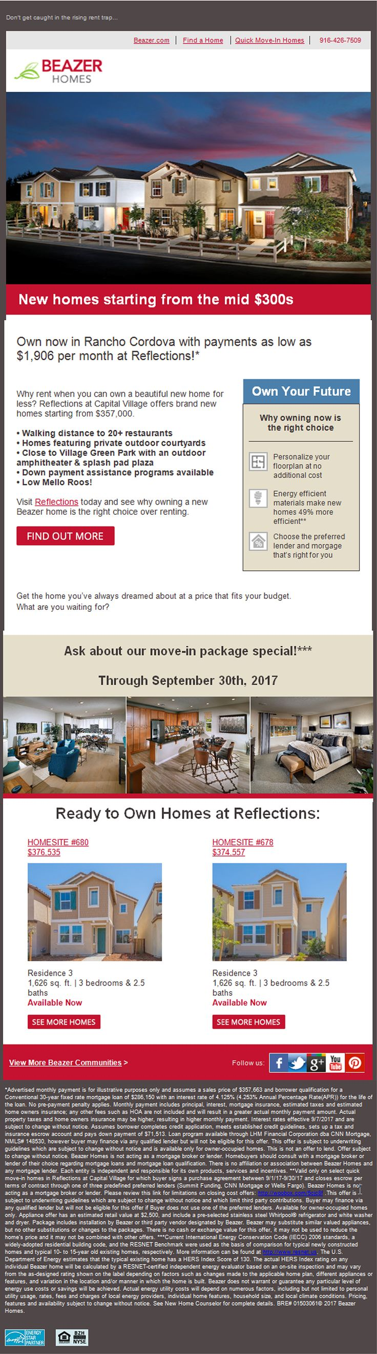 New Homes for Sale in Rancho Cordova, California  Say goodbye to rent, and hello to a Beazer home!  Private Outdoor Courtyards  |  Close to Village Green Park  |  Move-In Package Special  https://www.beazer.com/sacramento-CA/reflections-at-capital-village