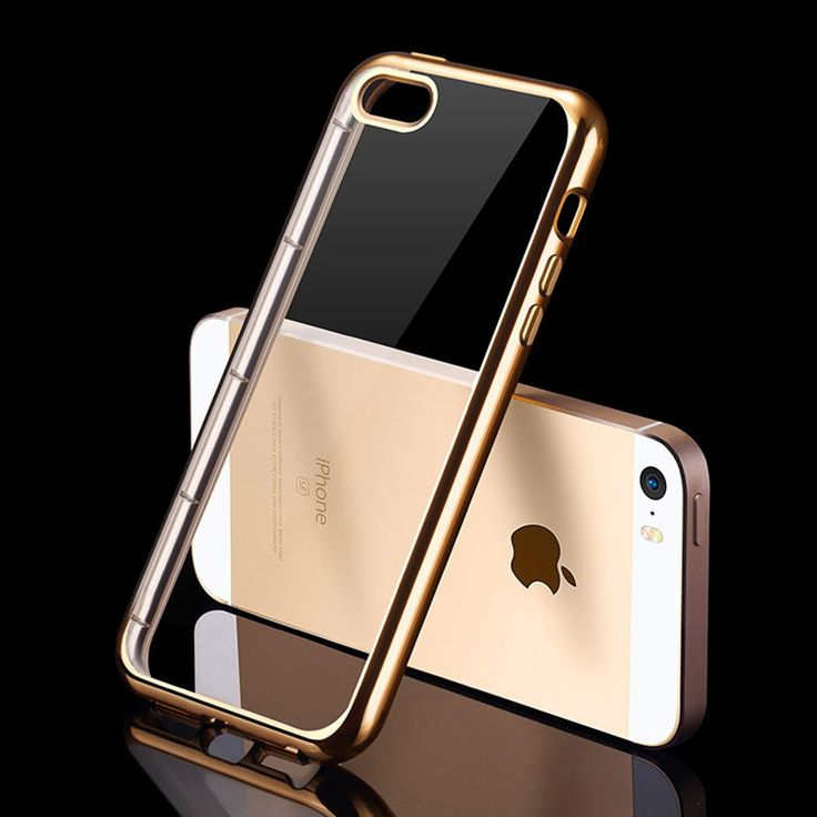 Transparent Silicone Case For iPhone 5 / 5S / SE Shiny Plating Cover No Smell Fundas i Phone iPhone5 S Gold Black Coque Luxury [Affiliate]