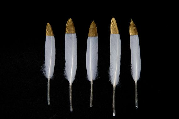 """Gold Tipped Natural White Goose Craft Feathers 4 - 6"""" Handmade/ Hand Dipped Long - UK Seller - Perfect for Weddings and Dreamcatchers"""