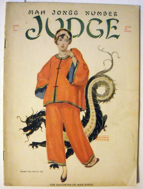 """1924 cover of """"Judge"""" magazine, featuring the Mah Jong craze. It was popular to get all your girlfriends together, dress in """"oriental"""" fashion, and have a Mah Jong party."""