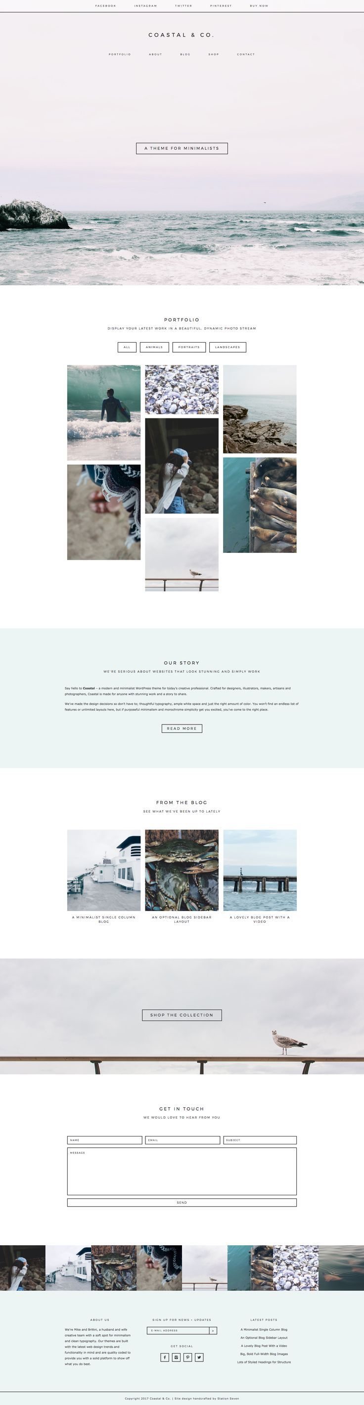 Say hello to Coastal 2.0 - a modern and minimalist WordPress theme for today's creative professional. Crafted for designers, makers, artisans and photographers, Coastal is made for anyone with stunning work and a story to share. We've added lots of great options, including a secondary sticky nav, portfolio category sorting, WooCommerce compatibility, a full-width Instagram footer and more.: