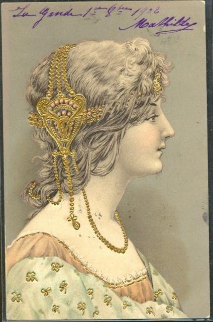 GQ159 Art Nouveau Femme de Profil Bijoux Head Ornaments Dorures Gaufrée Relief | eBay