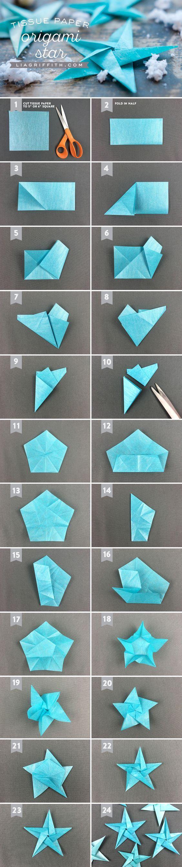 Tissue Star Origami Christmas Ornaments www.LiaGriffith.com #DIyChristmas #ChristmasDIY #TissueStars #DIY #HolidayDIY #DIYHoliday