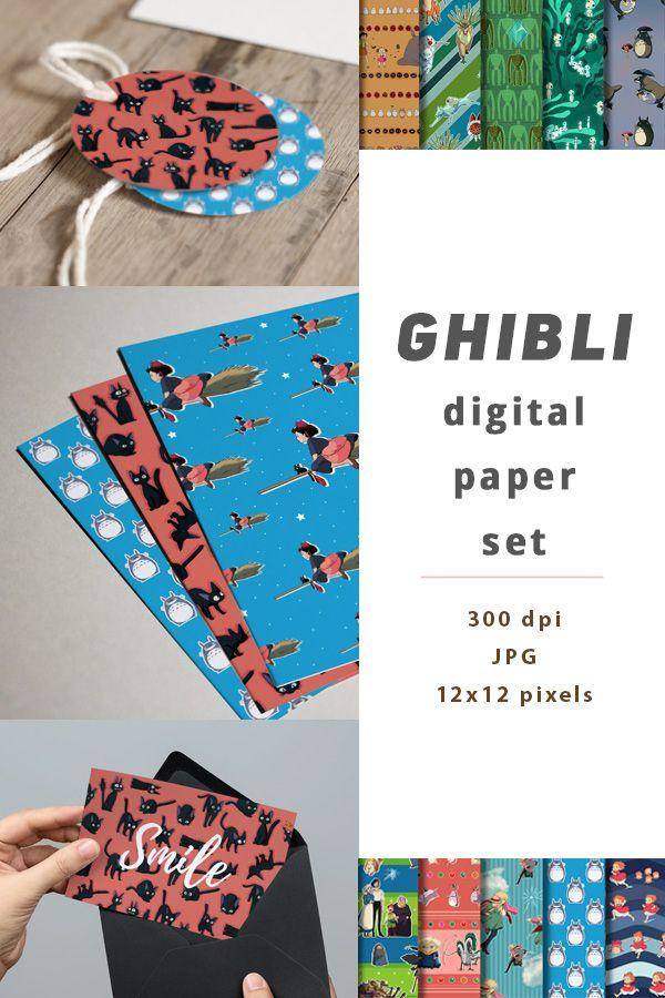 Studio ghibli crafts scrapbook digital paper set. Totoro gift card f525b9695d
