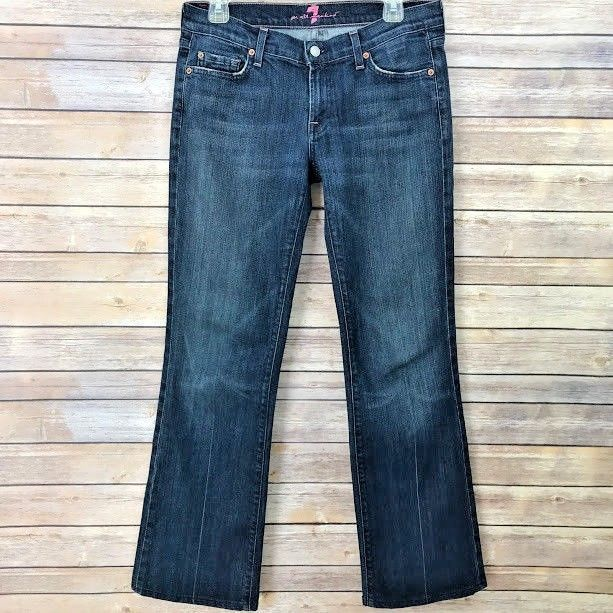 7 For All Mankind Womens Jeans Size 30 X 31 Bootcut Pink Stitch