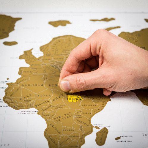 Hou bij welke landen je hebt bezocht met de persoonlijke kras wereldkaart.