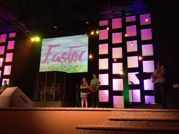 Easter Stage Design With Corrugated Panels Church