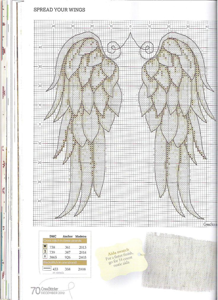 Spread your wings 2/3 Cross stitcher Magazine no: 260 December 2012 Free pattern and colorcode