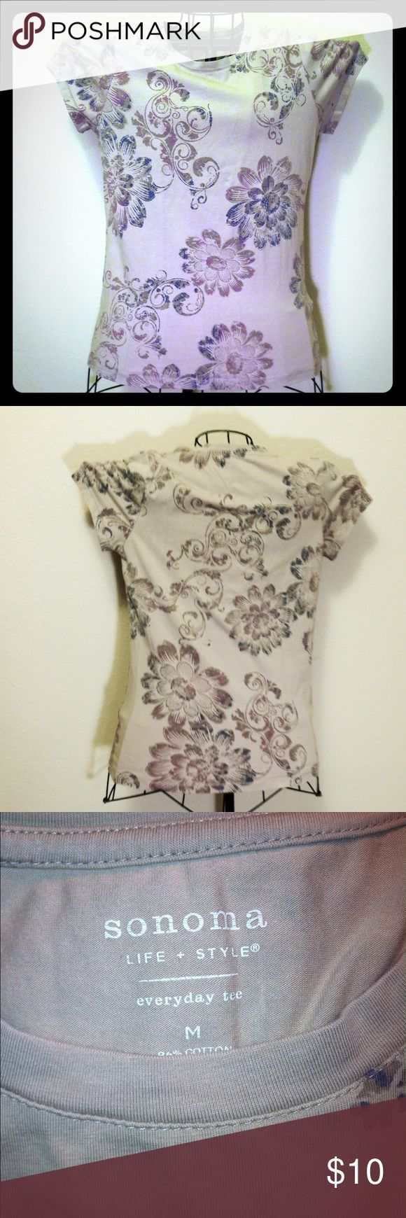 """""""Sonoma"""" M (8-10), woman's t-shirt, biege floral 96% cotton & 4% spandex, woman's size medium (8-10), basic Tee- shirt, beige with brown & purple floral, new without tags, very nice new condition, some accent colors of coral/melon, green, purple in decorations, main color brown, short sleeve, rounded neck, NEW WITHOUT TAGS, still in NEW CONDITION, hasn't been worn, """"Sonoma"""" brand name - (Kohl's) regular original retail- $17.99, made in California, USA. Sonoma Tops Tees - Short Sleeve"""