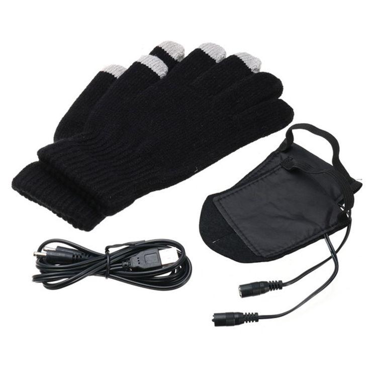 Winter Warmer Touch Screen Bike Gloves USB Electric Powered Heating Heated Washable Gloves Anti-skid Bike Equipment #Affiliate