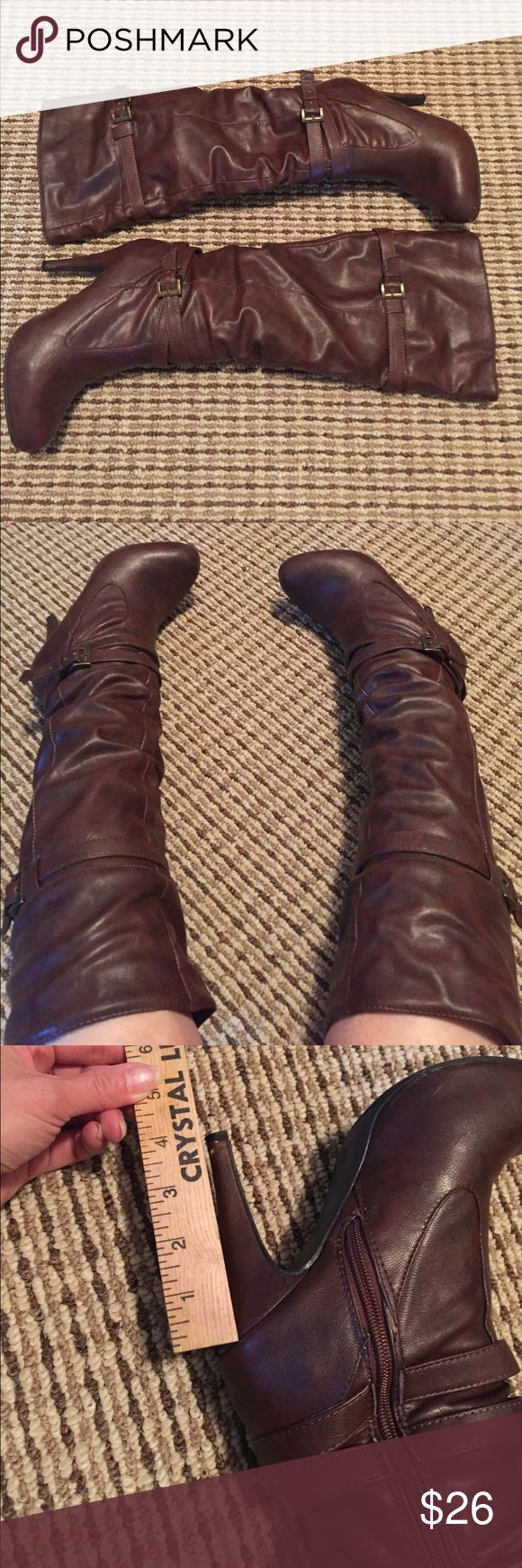 Tall brown boots Only worn a few times. Soft fuzzy lining. Ann Michell Shoes Heeled Boots