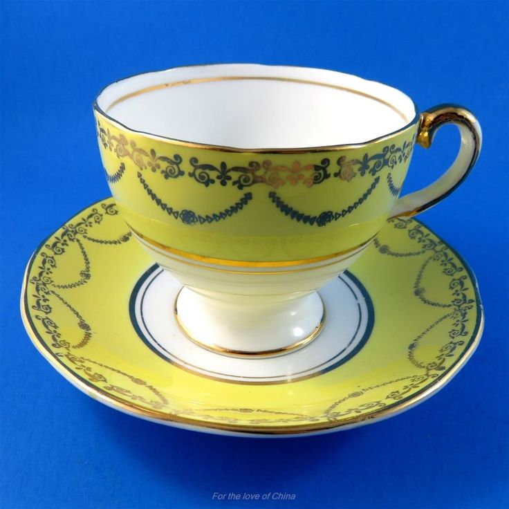 Striking Yellow and Gold Garland Salisbury Tea Cup and Saucer Set | Antiques, Decorative Arts, Ceramics & Porcelain | eBay!