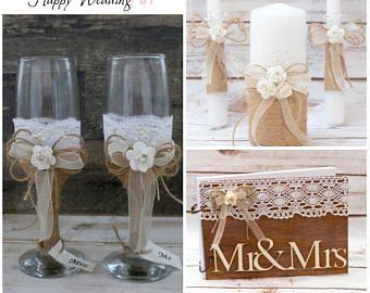 Boda rústica Set copas champán invitado libro unidad vela arpillera Set país tarta cuchillo Set fultes velas de boda
