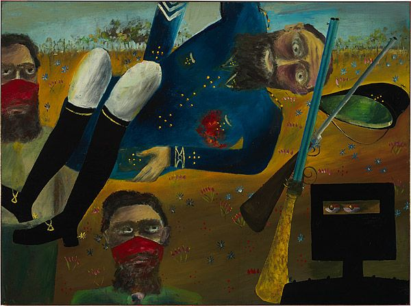 Sidney Nolan 1946-7 Ned Kelly Series - Stringybark Creek [Death of Sergeant Kennedy at Stringybark Creek] 1947