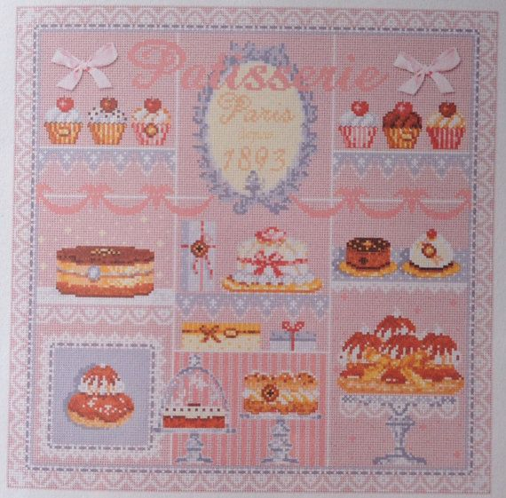 CROSS STITCH CHART French Patisserie Paris by RiverdriftNeedlework