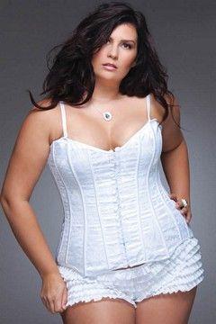 White Lace & Satin Bridal Corset in plus size