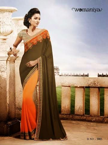 Beautifully designed Tri-colored Shaded Georgette saree with heavy embroidery work en-crafted all over. Comes along with Contrast matching Beige Blouse.
