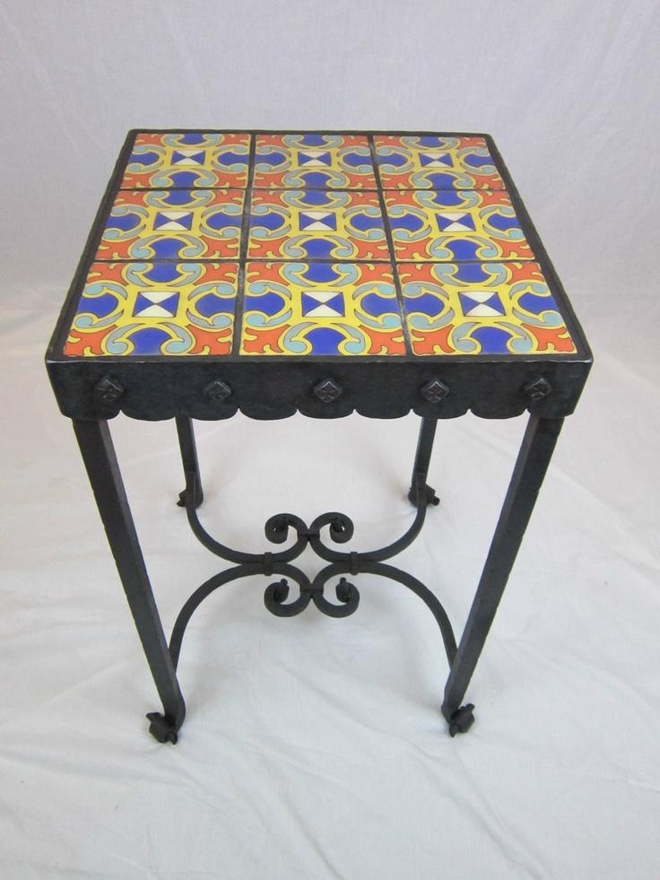 Spanish Revival California Tile U0026 Wrought Iron End Table La Brea Series 2