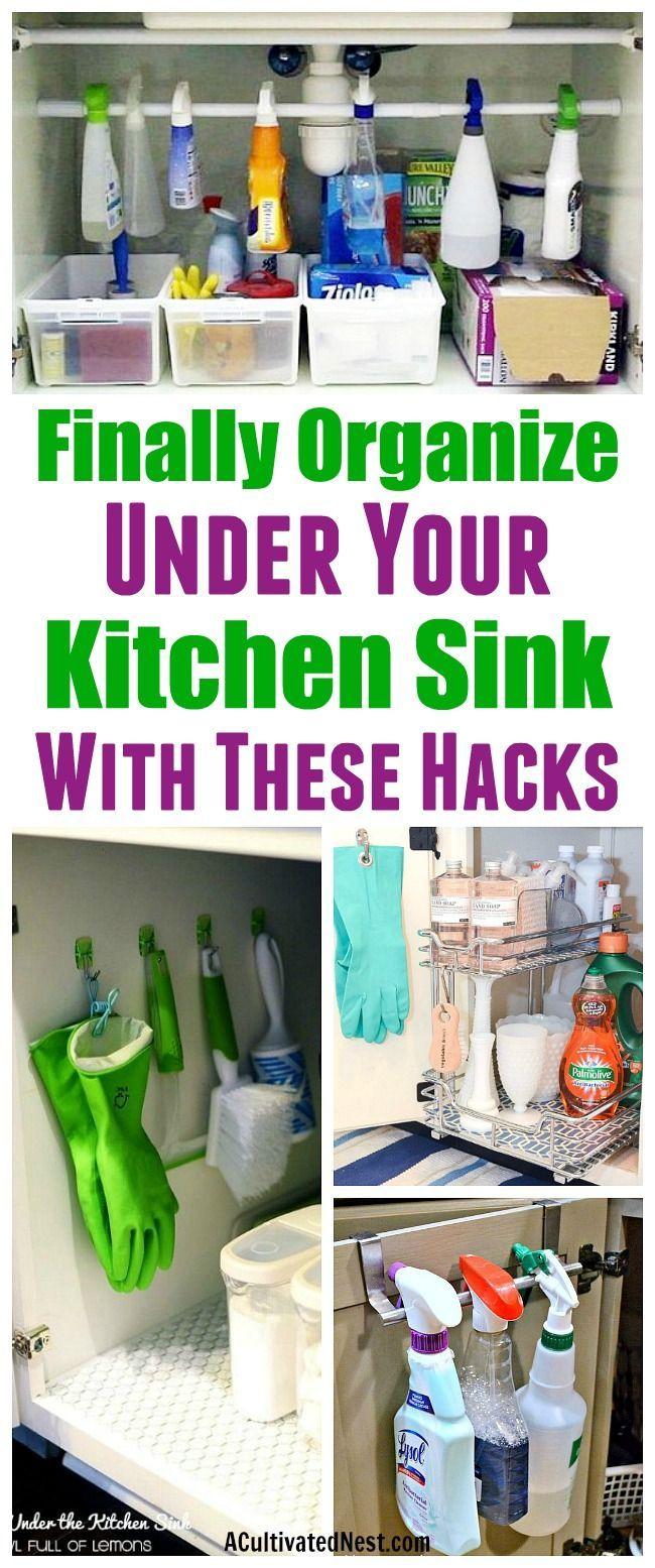 How To Organize Under the Kitchen Sink- Stumped on how to organize under the kitchen sink in your home? There are plenty of easy solutions out there! Have a look at these ideas for some great organizing tips! | Kitchen organization, how to organize kitchen cabinets, under the sink, dollar store organizing ideas, organize cleaning products, reduce clutter #organizing #organize #organization #kitchenOrganization #organizingclutter