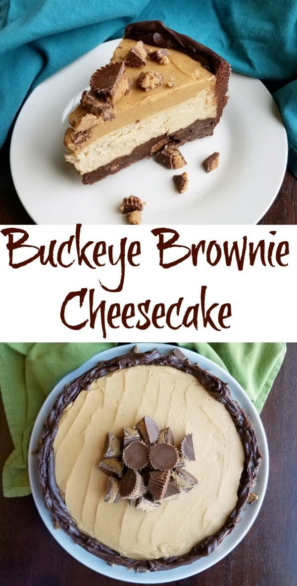 Buckeye Brownie Cheesecake is rich, decadent and over the top good. All of your chocolate peanut butter dreams have come true! #chocolate #peanutbutter #yum #recipe #food #cheesecake