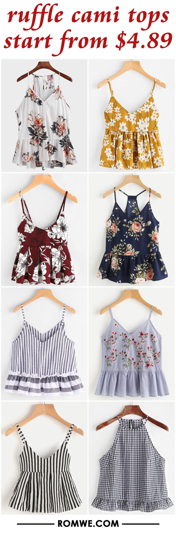 ruffle cami tops from $4.89