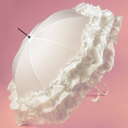 Ruffled Ivory -This Sumptuous Wedding umbrella...W matching tassel.
