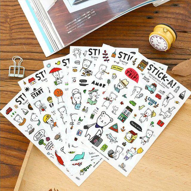 6 листов/много мультфильм Стив Медведь бумага наклейки DIY скрапбукинг дневник альбом наклейки post it канцтовары школьные принадлежности