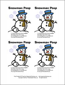 Snowman Poop Gift Tags - To make Snowman Poop, place a handful of mini-marshmallows in a small zipper food storage bag or decorated cellophane treat bag, then attach a gift tag with the Snowman Soup poem.
