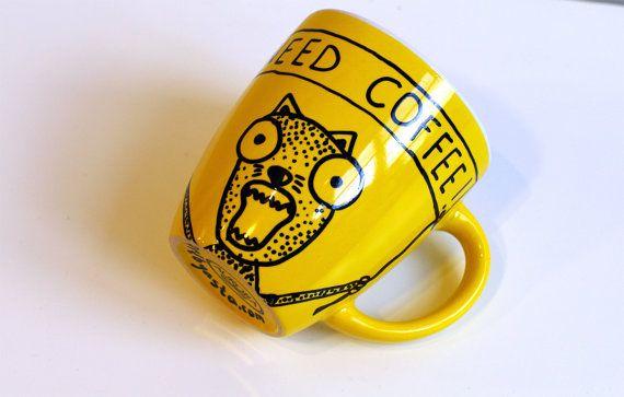 Yellow coffee mug - Ceramics and pottery mug for him - Funny Coffee Mug for him - Ceramic coffee mug - Yellow coffee mugs - Coffee cups - Yellow mug