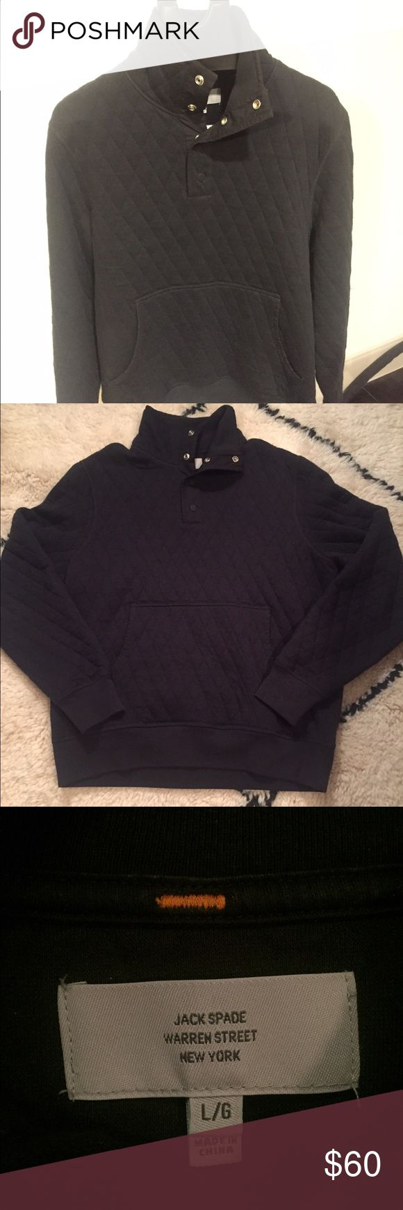 Jack Spade Large quilted pullover sweater Black large Jack Spade quilted sweater pullover with button snaps. Worn very few times without any tears or stains. Very comfortable and is like new, great piece for any wardrobe Jack Spade Sweaters