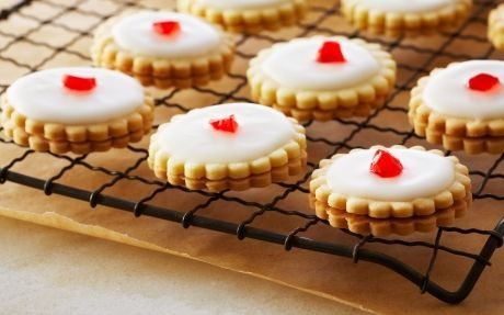Empire Cookies Recipe by Anna Olson - Uses a slightly less traditional shortbread recipe with egg yolks.