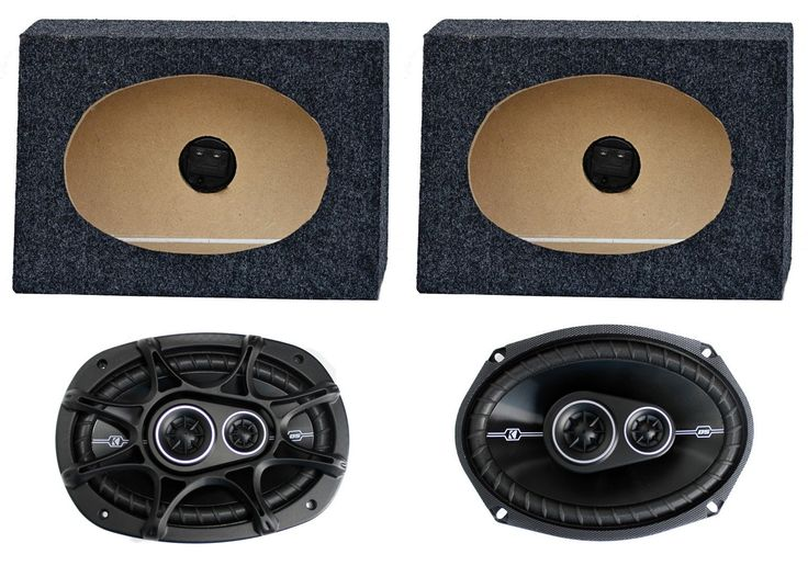 "2) Kicker 41DSC6934 6x9"" 360W Car Speakers + 2) QTW6X9 Angled 6x9"" Speaker Box. 2) Kicker 41DSC6934 D-Series 6x9"" 360 Watt 4-Ohm 3-Way Car Audio Coaxial Speakers. Peak: 360 watts. RMS: 90 watts. Thin-Profile. Zero-to-Minimal Tweeter Protrusion."