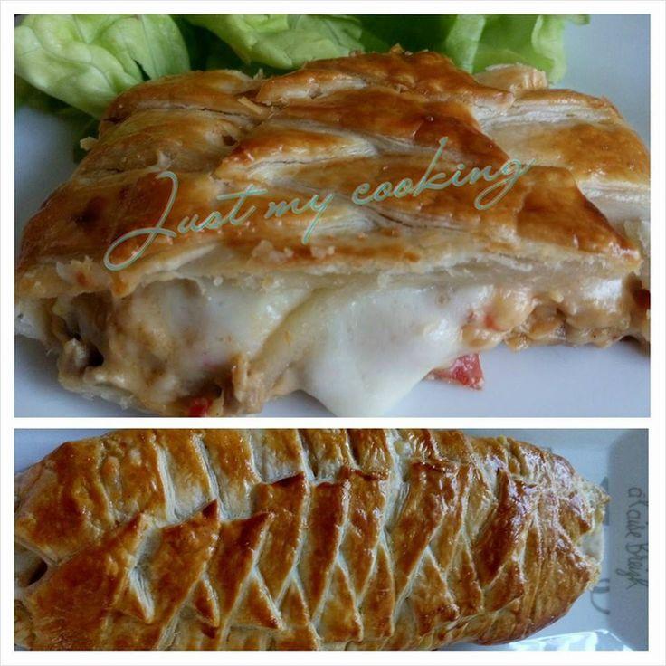 Tresse feuilletée poulet/tomate/curry et mozarella