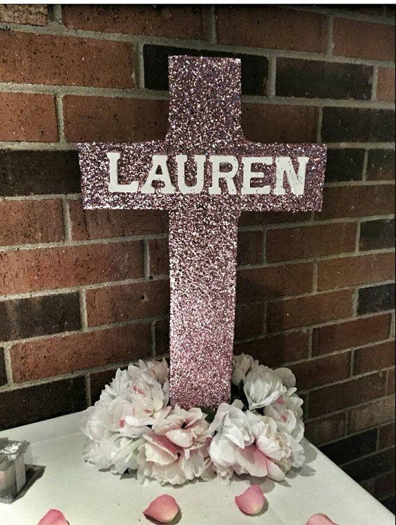 Glitter free standing cross- christening centerpiece- decorated cross- baptism…