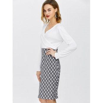 Long Sleeve Argyle Surplice Pencil Sheath Dress - WHITE M