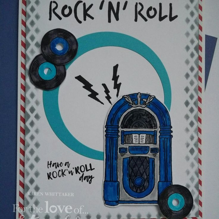 For The Love of Stamps Rock n Roll Jukebox stamp set #fortheloveofstamps #hunkydorycrafts #rocknroll #jukebox #stamping #stamps #dtsample #kuretake #heatembossing #cards #cardmaking
