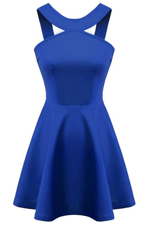 Straps Solid Color A-Line Dress | $25.58