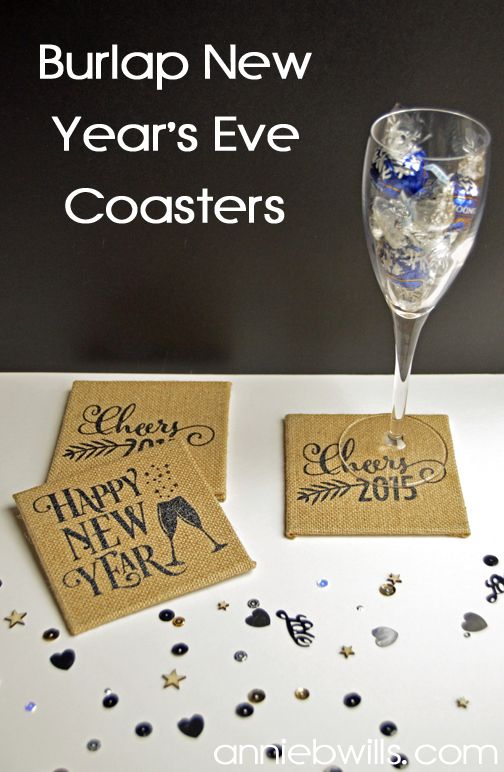 Burlap New Year's Eve Coasters   Lab Hands